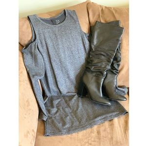 Dark Gray Cap-Sleeve Dress